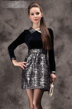 Pretty New Arrival Spring Slim Split Joint Jacquard Long Sleeves Dress