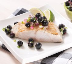 Thrifty Foods - Recipe - Grilled Sablefish with Blueberry Jalapeño Salsa Cod Recipes, Fish Recipes, Seafood Recipes, Jalapeno Salsa, Black Cod, Potato Rice, Healthy Grains, Healthy Sugar, Just Cooking