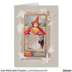 Cute Witch Jack O' Lantern Pumpkin Black Cat Greeting Card