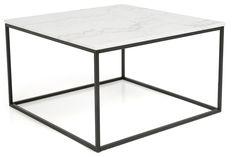 Sohvapöytä Titania Valkoinen marmori/Musta - 75x75x45 cm | Kodin1.com