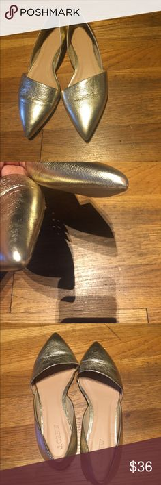 J.crew flats JCrew metallic flats. Gold color. Great condition with slight rubs on the toe (shown in pic 2). Other than that in great condition. J. Crew Shoes Flats & Loafers