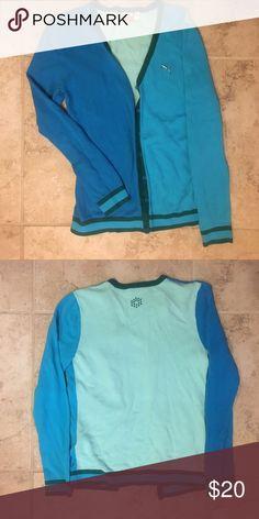Blue Colorblocked Puma Cardigan super cute blue colorblocked puma cardigan. only worn once or twice Puma Sweaters Cardigans