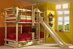 room ideas with a triple bunk bed bunk bed with slide by woodland children love bunk beds Bunk Beds Boys, Wooden Bunk Beds, Cool Bunk Beds, Kid Beds, Loft Beds, Play Beds, Boys Bedroom Ideas With Bunk Beds, Unique Bunk Beds, Bunk Bed With Slide