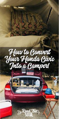 So verwandeln Sie Ihren Honda Civic in einen Camper - car camping - Camping Mini Camper, Suv Camper, Camper Van, Camper Life, Honda Civic, Civic Jdm, Honda S2000, Sleep In Car, Bed In Car