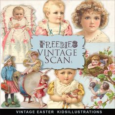 Far Far Hill - Free database of digital illustrations and papers: Freebies Vintage Easter Kids