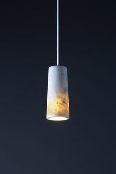 Single Core pendant in Carrara marble.