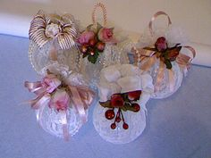 Lace Christmas Ornaments | Handmade Victorian Lace Christmas Ornaments by fiordalis on Etsy