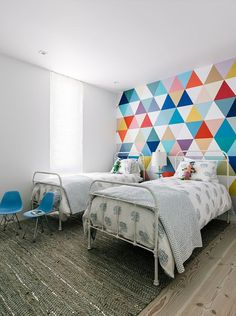 Fabulous wallpaper adds color and pattern to the cool kids' bedroom