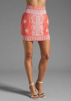 renzo   kai Lola-Lola Silk Skirt in Coral/White