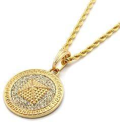 """Mens Medallion Pattern Pyramid Gold Clear Plated Greek 24"""" Rope Chain Pendant Necklace - Jewelry For Her"""