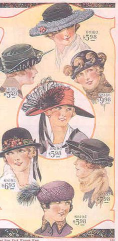 Vintage fashion images from a Bella Hess catalog, 1920
