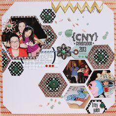 hexagon layout via patricia roebuck #lilybeedesigns