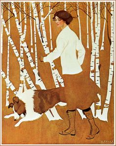 "Coles Phillips ""Pals"" 1911  C. Coles Phillips [American artist and illustrator, 1880 – 1927)].   Phillips was one of the chief architects of the ""Golden Age of American Illustration."" His ""fade-away"" style of illustration was highly popular.   Life magazine cover, October 26, 1911  Also featured in 'A Young Man's Fancy' 1912, a portfolio Phillips' illustrations"