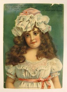 Victorian 1902 TRADE CARD SINGER Sewing Machine  7x5 Chromolithograph young girl