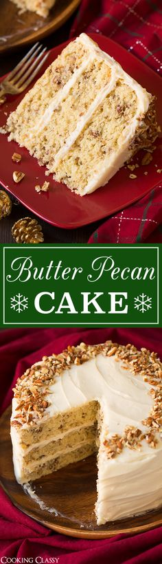The best butter pecan cake recipe! It's brimming with a rich buttery flavor and swirled with plenty of pecans. It's moist and sweet and a perfectly tempting cake fit for any occasion! Cupcake Recipes, Baking Recipes, Cupcake Cakes, Dessert Recipes, Pecan Recipes, Just Desserts, Delicious Desserts, Butter Pecan Cake, Gateaux Cake