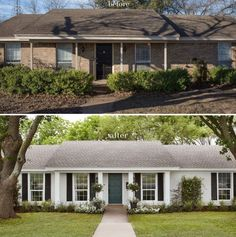 20 Ideas exterior house colors with brick ranch style white trim Reforma Exterior, Café Exterior, Exterior Remodel, Exterior House Colors, Exterior Paint, Exterior Design, White Wash Brick Exterior, Exterior Shutters, Stained Brick Exterior