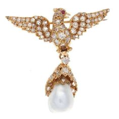 Antique Victorian Pearl Ruby Diamond Gold Bird Brooch