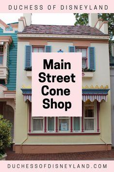 Main Street Cone Shop, Main Street USA, Disneyland Disneyland History, Disneyland Main Street, Gibson Girl, Usa, Places, Outdoor Decor, Shopping, Home, Ad Home