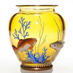"Moser amber vase, applied 3-D glass fish, 4 1/4"" : Lot 793"