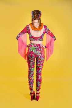 Luxury Lycra Printed Leggings with Pom Pom Detail by LOMstore