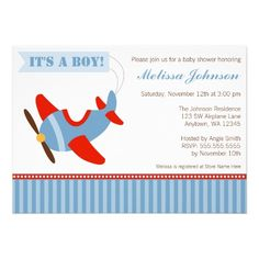 Airplane Stripes Red Blue Boy Baby Shower Invitation