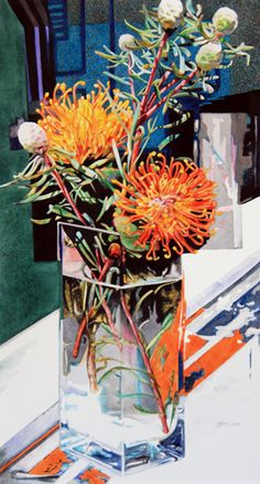 Robin Erickson's watercolor still life 'Pincushion Protea' Read more at ArtistsNetwork.com for art tips and instruction. #watercolor #painting #stiilllife