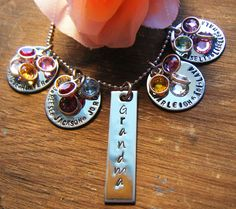 Hand Stamped Jewelry Personalized Grandma or Mothers Day Necklace - Family Jewelry. $49.00, via Etsy.
