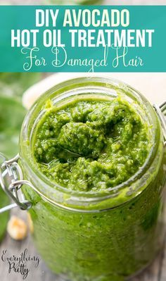 Repair dry, damaged hair with this easy DIY avocado hot oil treatment. via www.yourbeautyblog.com
