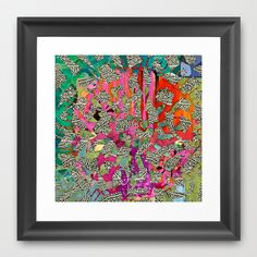 Hot Pink & Red Abstract Art Collage Framed Art Print by Sheree Joy Burlington - $35.00