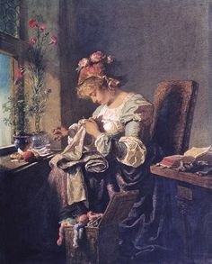 Woman Sewing - Mikhail Zichy