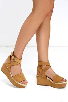 The Kensie Teal Cognac Nubuck Leather Platform Wedges are every Boho girl's dream! Espadrille detailing accents these soft, nubuck leather flatforms, forming a wide toe strap and wrapping ankle straps (that fasten with an antiqued bronze buckle). Couple Shoes, Crazy Shoes, Me Too Shoes, Classic Shoes, Daily Shoes, Shoe Boots, Shoes Sandals, Cognac Sandals, Espadrille Sandals