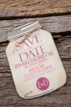The Mason Jar Save the Date Cards are Adorable #savethedatecards #weddinginvitations trendhunter.com