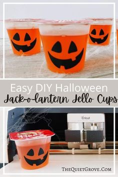 Jack-o-lantern Jello Cups are super easy to make using vinyl Halloween Celebration, Halloween Parties, Halloween Treats, Jello Cups, Board For Kids, Halloween Jack, Autumn, Fall, Christmas And New Year