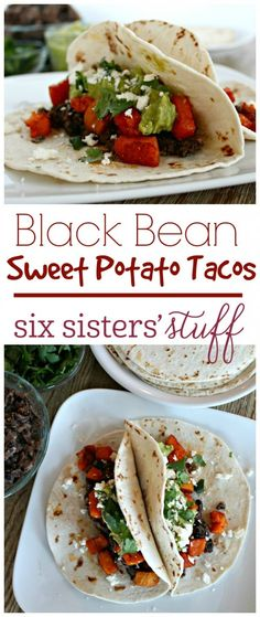 Black Bean Sweet Potato Tacos on Six Sisters' Stuff | These Black Bean Sweet Potato Tacos are SO good and healthy! You could easily add some chicken or ground turkey if you need, but they are delicious without!