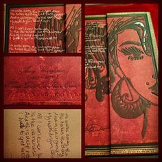 Amy Winehouse's handwritten lyrics and a self-portrait engraved on a @Paperblanks Amy Winehouse journal | From Instagram by @ericelizo