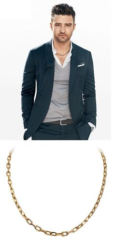 Justin Timberlake wearing a classic Pink Gold Cartier Spartacus Link Chain. This along with many more pieces are profiled in an excellent article on men's neck jewelry at http://karuschains.com/blogs/news/18707751-from-gold-chains-for-men-to-rosary-necklaces-and-everything-in-between-karus-chains-2015-ultimate-guide-to-men-s-neck-jewelry