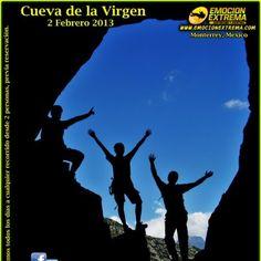 la cueva de la virgen es un enorme hoyo que atraviesa la montaña, el objetivo es caminar, trepar, escalar, estar sobre la cueva.  Y para los mas Aventureros  puedes seguir escalando y bajar a Rapel 100 mts en caída libre.