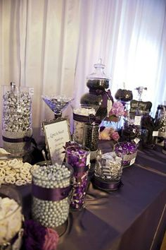Deep purple wedding candy buffet