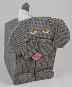 Free Plastic Canvas Tissue Box Patterns | Plastic Canvas-Weimaraner 3-D Tissue Topper Plastic-Canvas-Kits.Com