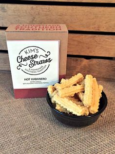 Kim's Cheese Straws Hot Habanero Cheddar Cheese Straws- $5.99 each, 4 for $22.00, 12 for $60.00. Be careful! These cheese straws combine my super cheesy flavor with the blazing hot habanero pepper for a fiery taste. There are approximately 8 straws per oz so the 3.5 oz box feeds 3-4 people. Ships in 2-3 business days.