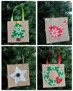 Burlap Holiday Ornament Tutorial