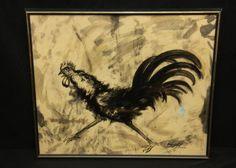 """Framed John Hansegger oil on paper Rooster painting signed """"Hansegger. Sight: 10.5x24."""" On back says """"537."""" Rare black rooster."""