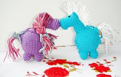 Horse Pink Blue  My little pony  Crochet by MiracleFromThreads, $25.00