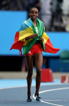 #RIO2016 Almaz Ayana of Ethiopia celebrates winning the Women's 10000 Meters Final and setting a new world record of 291745 on Day 7 of the Rio 2016 Olympic...