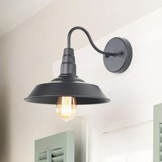 With its gooseneck Steel arm design, the wall sconce is classic warehouse lighting for any industrial styled space. The black metal dome shade offers an extra dose of industrial style. The polished gooseneck design is the classic design of vintage fi Barn Lighting, Farmhouse Lighting, Vanity Lighting, Home Lighting, Outdoor Lighting, Exterior Lighting, Lighting Ideas, Room Lights, Wall Lights