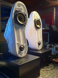 Adidas speakers, self rig. These are awesome! Best Dj Speakers, Music Shoes, Wooden Speakers, Funny Shoes, Dj Equipment, Speaker Design, Adidas Fashion, Loudspeaker, Audiophile