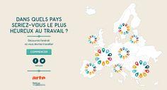 Une infographie interactive pour découvrir dans quel pays européen vous seriez le plus heureux au travail ! Une infographie signée WeDoData. #dataviz #work #freelance
