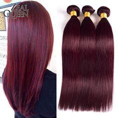 Brésilienne Vierge Cheveux Raides 3 Bundles Bourgogne Cheveux Brésiliens Armure Bundles 99j # Brésilien Cheveux Raides Bourgogne de Cheveux Humains