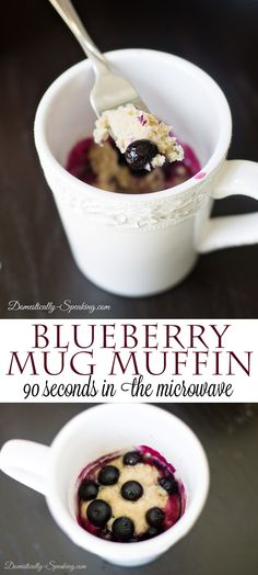 Blueberry Mug Muffin put together in a couple minutes and only 90 seconds in the microwave