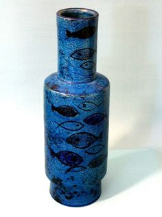 Design midcentury BITOSSI Aldo Londi Vase Fish Pesce Rimini Blue 50 er 60 er RAR in Antiquitäten & Kunst, Porzellan & Keramik, Keramik | eBay